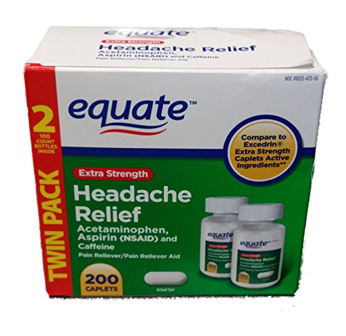 Extra Strength Headache Relief Twin Pack, 200CT, par Equate, comparer pour Excedrin Caplets Extra Strength