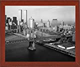 Frame USA Manhattan Bridge with Twin Towers behind-PRIPUB131159 Print 12''x14.75'' by Print Collection in a Affordable Red Mahogany Medium
