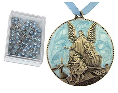 Baby Baptism Gifts for Boys | Set of Blue Rosary and Guardian Angel Crib Medal ()