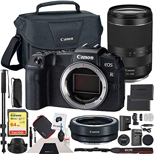 Canon EOS RP Mirrorless Camera with RF 24-240mm Lens F/4-6.3 is USM Lens Kit Bundle with Lens Mount Adapter, 64GB Memory Card, Shoulder Bag, Battery and Charger Kit, Monopod and Cleaning Kit