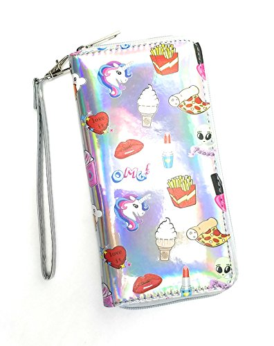 Icon Zip Around Wallet - Rising Phoenix Industries Large Holographic Emoji Icon Pattern Wallet w/Strap, Fun Print Clutch w/Zipper (Unicorn Food Print)