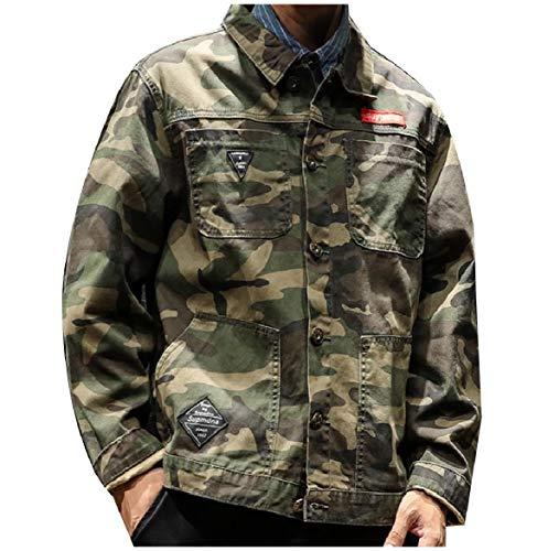 Howme Jeans Frontale Multicamo Magro Verde Casuale Abbottonato Tasca men Militare Giacche Di 66Cwqg
