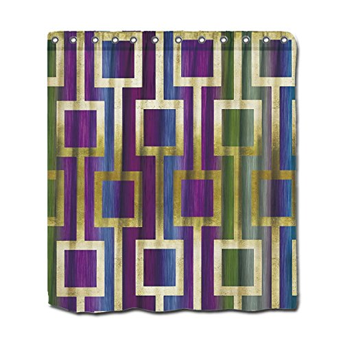 YYT Custom Shower Curtains Contemporary Elegant Gold Blue Green Purple Shower Curtain 66