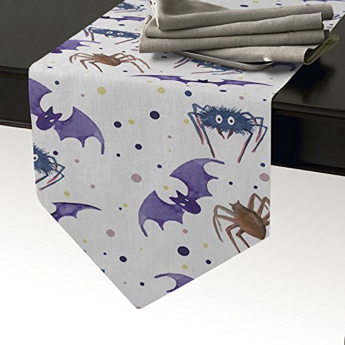 - Table Runner for Kitchen Dining Table Halloween Hand Painted Bat and Spider Burlap Table Runners Dresser Cover Wedding Party Fall Decorations, 14 by 72 Inch, Purple Brown