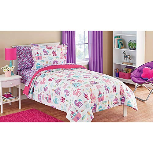 Mainstays Kids Pretty Princess, Floral, Castle, Unicorns and Hearts relatively easy to fix Bedding Twin Comforter for Girls (5 Piece in a Bag) Black Friday & Cyber Monday 2018