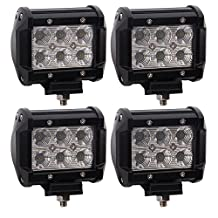 TURBO SII 4pcs 4 Inch Flood Beam Led Work light 18W 1620LM LED Pods Offroad Driving Lamps For Jeep JK Boat Truck Suv Utv 4WD 4X4