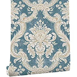 "HaokHome DR3015 Non Woven Vintage italian Damask Wallpaper Blue/Cream Victorian Wall Paper for living room bedroom Murals 20.8"" x 393.7"""