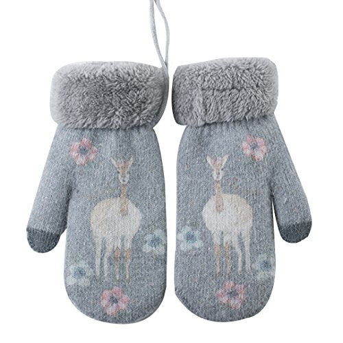 Felice Women Teen Girls Kids Cute Deer Pattern Warm Mittens Thick Lined Gloves With String (light gray)