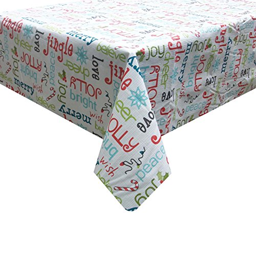 Essential Home Christmas Holidays Verbiage Words Sayings Polyethylene & Polyester Tablecloth 52 x 90 inch Oblong (Verbiage Christmas)