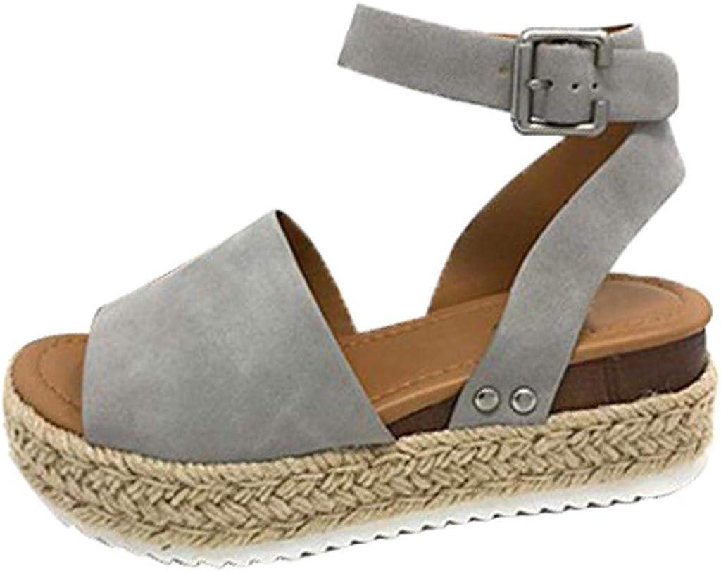 TWIFER Sandalias Mujer cáñamo Fondo Grueso Sandalias Punta Abierta Cuero Fondo Plano Zapatos Bohemias Romanas Hebilla Zapatillas Casual 35-43 Zapatos Verano 2019