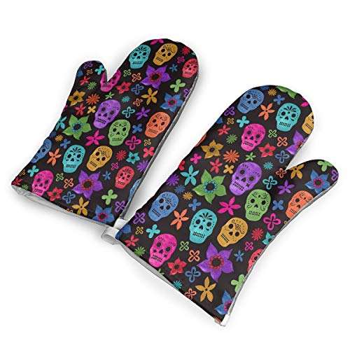 DRAMA QUEEN Oven Mitts Set Halloween Wallpaper Skull Advanced Heat Resistant Microwave Non-Slip Oven Mitts for Cooking Baking -