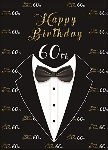 AOFOTO 7x10ft Happy 60th Birthday Backdrop for Men Bow Tie Tuxedo Black Background for Photography Grandfather Father Sixty Bday Bash 60 Year Old Party Cebelration Wallpaper Photo Studio Props Vinyl