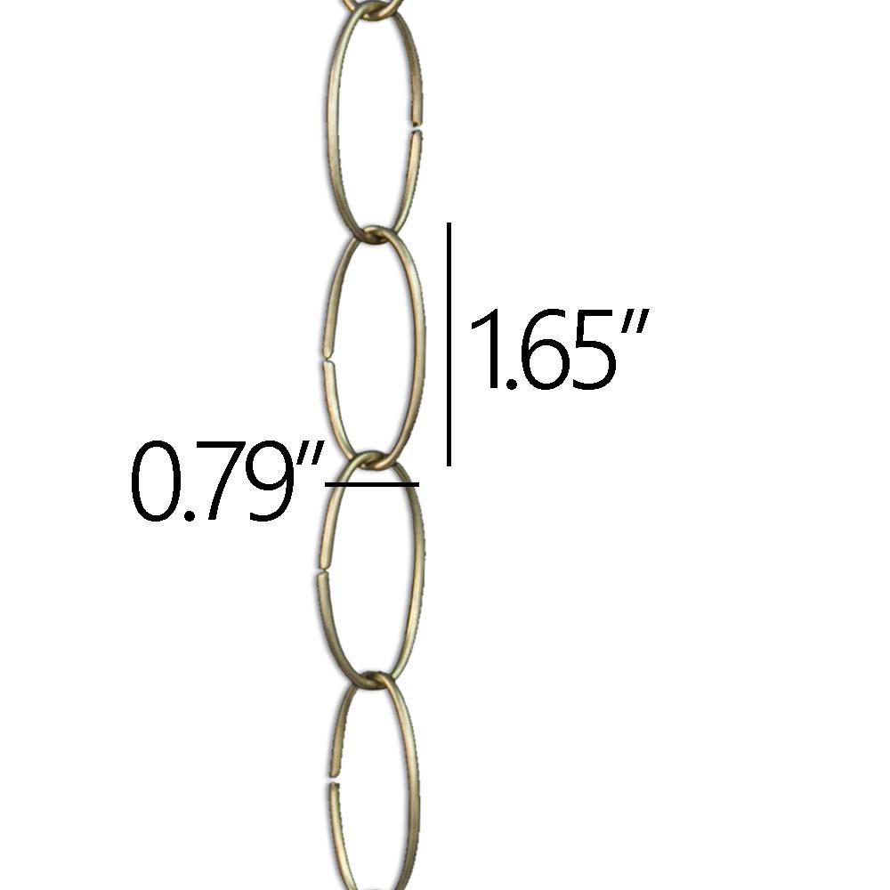 RCH Hardware CH-39-MS Decorative Matte Silver Solid Brass Chain for Hanging 1 Foot RCH Supply Company Large Oval Wire Unwelded Links Lighting