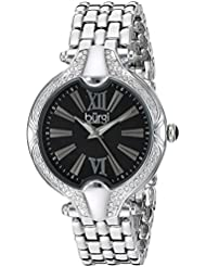 Burgi Womens Black Mother-of-Pearl Dial with Swarovski Crystal Accented Silver-Tone Bezel on Silver-Tone Stainless...