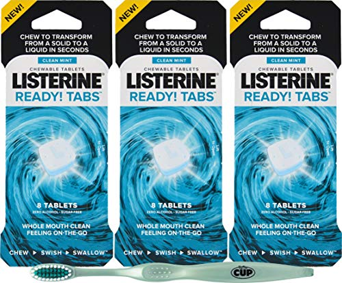 Listerine Ready Tabs Sugar Free 24 Chewable Mint Tablets with By The Cup Adult Toothbrush