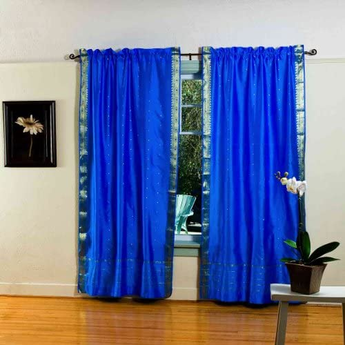Blue 84-inch Rod Pocket Sheer Sari Curtain Panel India