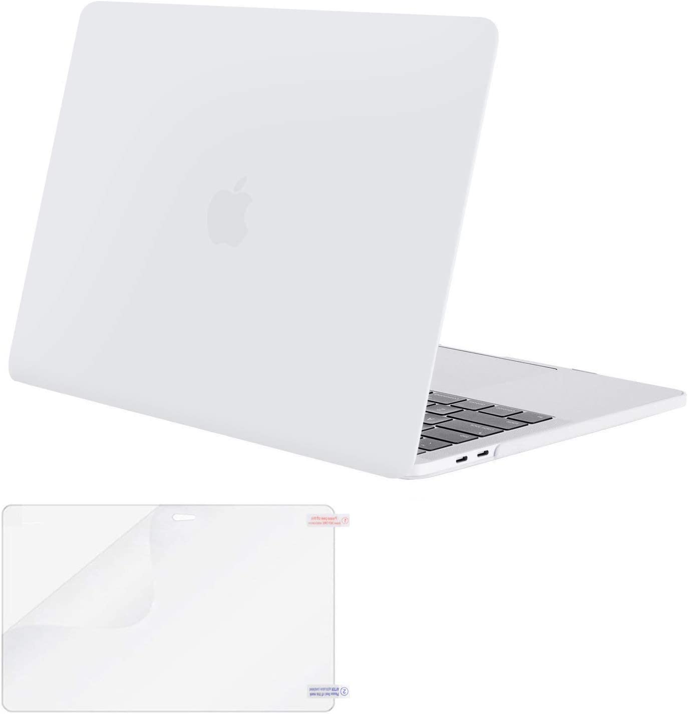 MOSISO MacBook Pro 13 inch Case 2019 2018 2017 2016 Release A2159 A1989 A1706 A1708, Plastic Hard Shell Case&Screen Protector Compatible with MacBook Pro 13 inch with/Without Touch Bar, White
