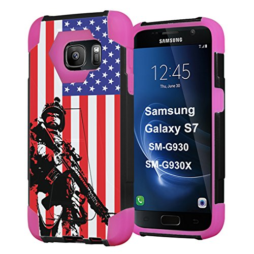 Galaxy S7 Case, Capsule-Case Hybrid Fusion Dual Layer Shockproof Combat Kickstand Case (Black & Pink) for Samsung Galaxy S7 SM-G930 SMG930 - (Marine USA Flag)