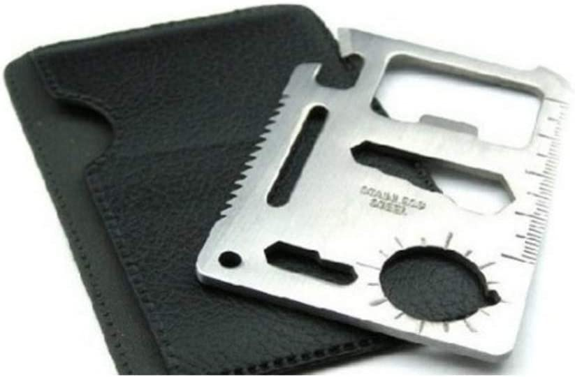 This is the image of a Credit Card Survival Knife, silver color, with black pouch.