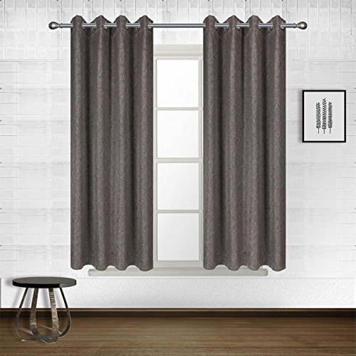 Solid Thermal Insulated Eyelet Faux Linen Blackout Curtains for Bedroom,Room Darkening,drape,panels,treatment window curtains, Set of 2 Panels, W52 by L84-Inch, Charcoal|Dark grey