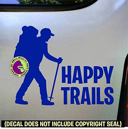 HAPPY TRAILS Hiker Vinyl Decal Sticker B