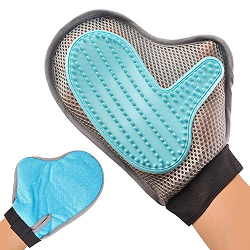 Rantizon Pet Grooming Glove, Deshedding Tool & Furniture Pet Hair Remover Mitt Rubber Tips for Massage Efficient…