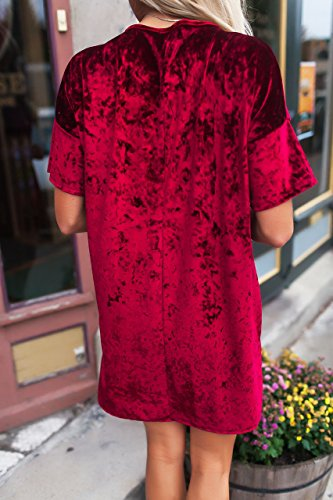 Misassy Womens Vintage Crushed Velvet Crew Neck Short Sleeve Loose Tunic T  Shirt Tops Casual Mini 828005c0e