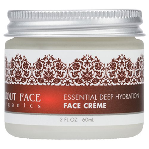 About Face Organics Deep Hydration Face Cream with DMAE, Hyaluronic Acid, MSM, Vitamin E | 76% Organic | Paraben, Cruelty Free | 2 Oz