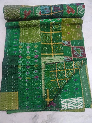 90 X 108 Silk Patola Quilt Handmade Kantha Throw Multipatch Blanket Queen Bed Spread Vintage Patola