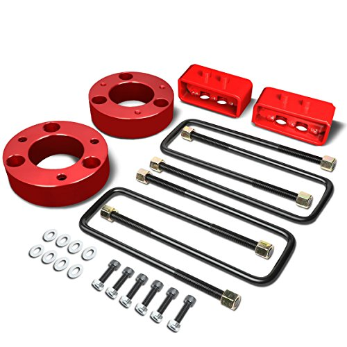 """DNA Motoring FLLK-FORD-R-009-RD Red 2.5"""" Front 2"""" Rear Lift Kit Spacers/Blocks[For 04-17 Ford F150]"""