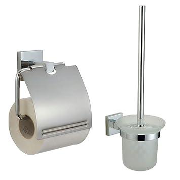 Auralum® Juego de Portarrollos para Papel Higiénico + Escobillero Montado en La Pared: Amazon.es: Bricolaje y herramientas