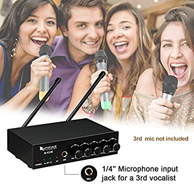 Fifine UHF Dual Channel Wireless Handheld Microphone, Easy-to-use Karaoke Wireless Microphone System. (K036)