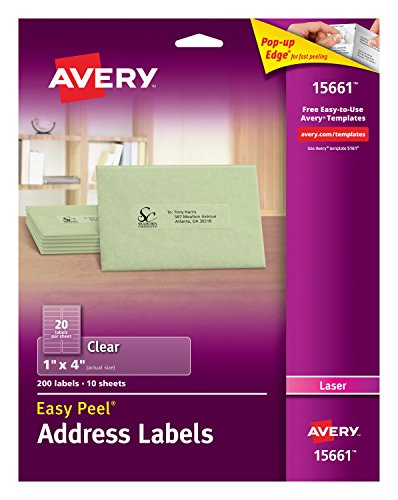 Avery Matte Frosted Clear Address Labels for Laser Printers, 1 x 4, 200 Labels (15661)