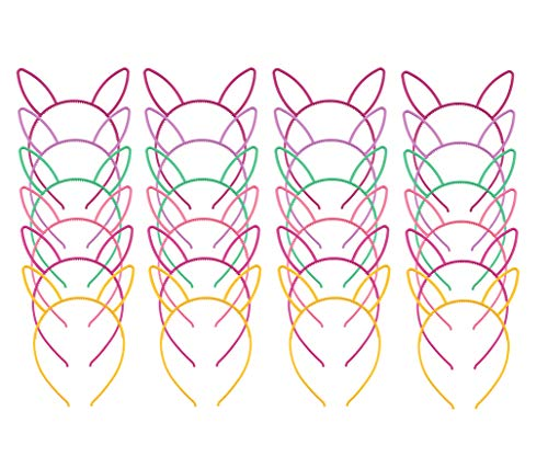 Plastic Easter Bunny Ears Headbands (24 pieces, 6 colors); Fun Rabbit Ear Party Favors, Dress-up, Costumes, Easter & More (24-pack, multicolored) ()