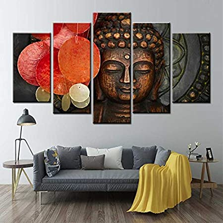 KWzEQ Arte de la Pared 5 Piezas de Buda Cabeza Estatua meditación Arte Cartel Lienzo Pintura decoración del hogar,Pintura sin Marco,30x40cmx2, 30x60cmx2, 30x80cmx1