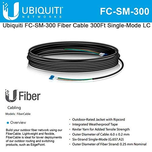 Ubiquiti FC-SM-300 Fiber Cable 300Ft Single-Mode LC ideal for installs outdoor