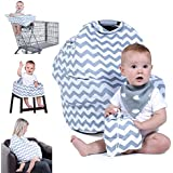 Natural Baby Stuff Infant Car Seat Cover for Boys Girls - Breathable Stretchy Grey & White Chevron Canopy with Bib & Drawstring Bag Set - Shower Gift Trend Universal 5-in-1 Multi-use for Nursing