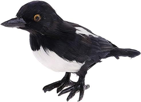 Elster Deko Figur Vogel Vögelchen aus Künstliche Feder und Kunststoff