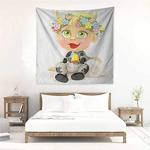 Willsd Zodiac Taurus DIY Tapestry Happy Baby with Little Horns and Flowers Cow Bell and Costume Kids Cartoon Literary Small Fresh 55W x 55L INCH Multicolor]()