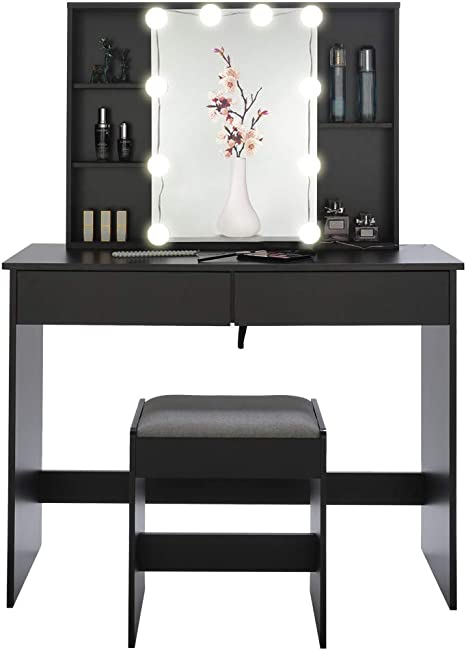 Usikey Large Vanity Set With 10 Led Lights 1 Slide Rail Mirror Makeup Tables With 5 Shelves Dressing Vanity Table With 2 Large Drawers And 1 Cushioned Stool Black Kitchen Dining