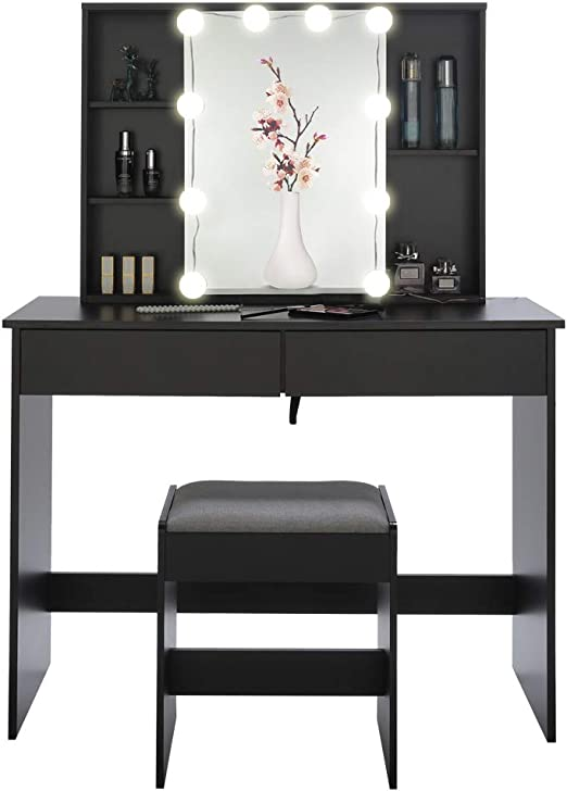 Amazon Com Usikey Large Vanity Set With 10 Led Lights 1 Slide Rail Mirror Makeup Tables With 5 Shelves Dressing Vanity Table With 2 Large Drawers And 1 Cushioned Stool For Bedroom