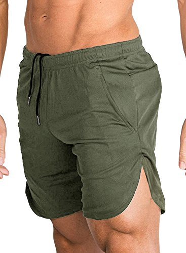 COOFANDY Men's Gym Workout Shorts Running Short Pants Fitted Training Bodybuilding Jogger with Pockets, Army-green, ()