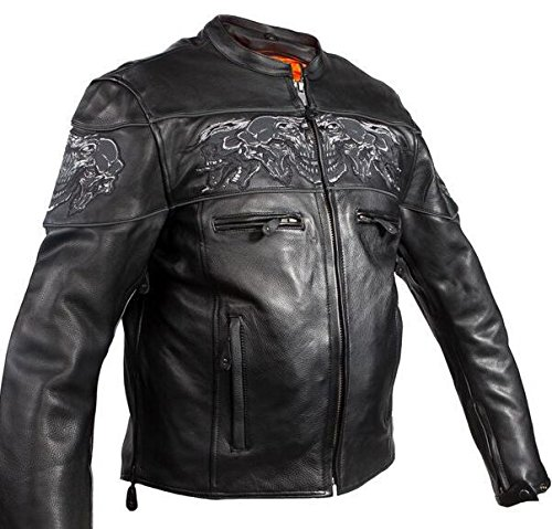Dream Men's Motorcycle Riding Blk Reflective Skull Leather Jacket Big Sizes Upto 10xl (6XL Regular) by Dream (Image #3)'