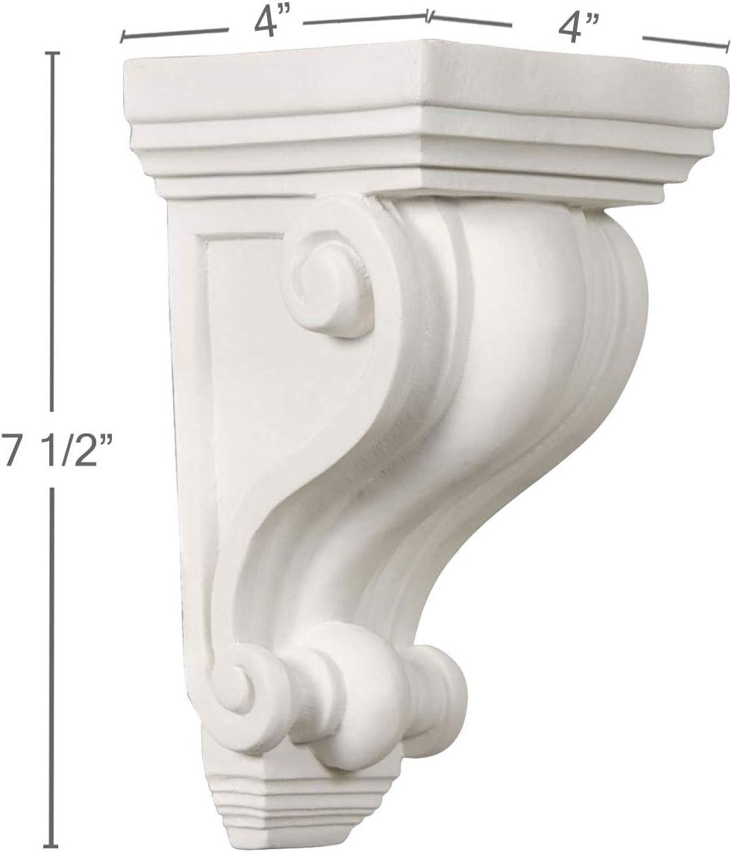 48 W x 4 3//8 H x 4 1//8 P Factory Primed White Ekena Millwork SH48X04X04VE Shelf