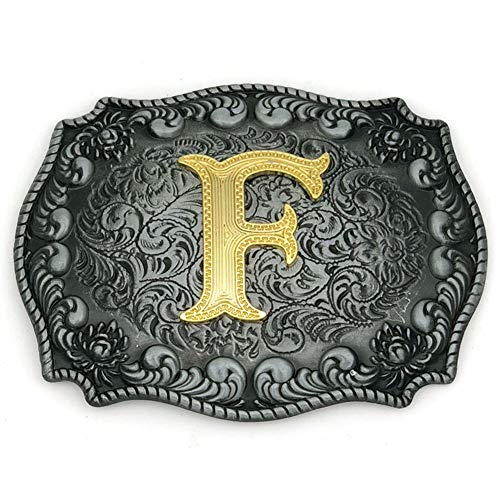 (Western Belt Buckle Initial Letters ABCDEFG to Y-Cowboy Rodeo Silver Large Belt Buckle for Men and Women (F) Upgrade)
