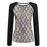ever after high nail polish - Weiding Disc Shaped Circular Gradient Rounds Curve Abstract Big Dots Women's Stretchy Long Sleeve Raglan Tshirt M
