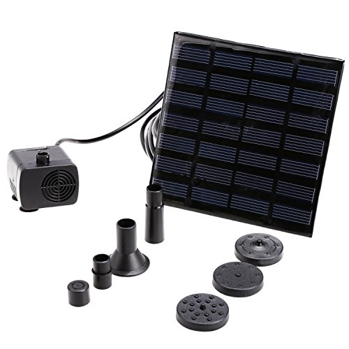 Eshion YSC000025 Danibos Outdoor Solar Power Panel Kit Bundle with 1.2W Small Submersible Water Pump for Garden Pond Fountain Waterfall and Accessories (9 Items)