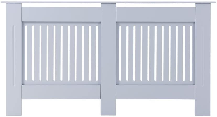 Radiator Cover Cabinet Wood MDF White Or Grey Traditional Cross Design