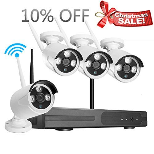 JOOAN Wireless Security Camera System 4 Channel 720p Video Recorder CCTV NVR 4 x 1.0MP Wifi Outdoor Network IP Cameras Good Night Vision (Cctv Wi Fi compare prices)
