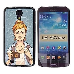 EJOY---Cubierta de la caja de protección la piel dura para el ** Samsung Galaxy Mega 6.3 ** --Hipster Chica